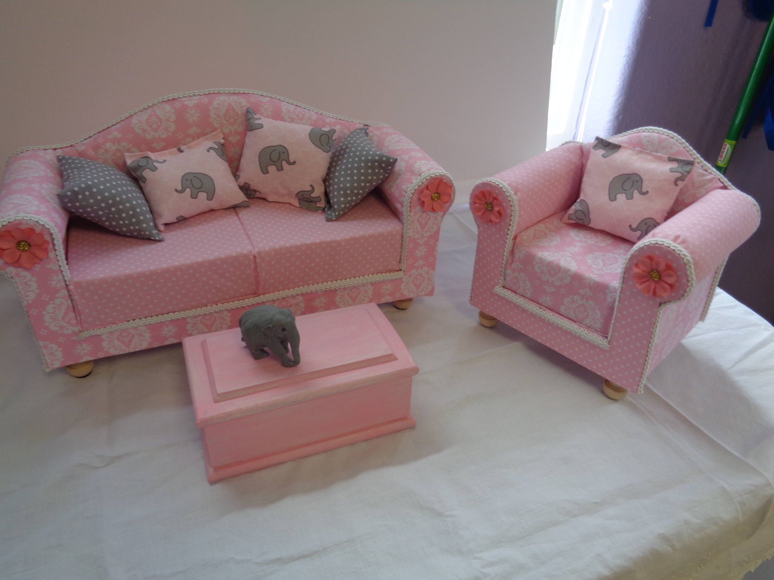 18 Doll Furniture Sofa Living Room Set Shabby Chic Pink And Chair Coffee Table