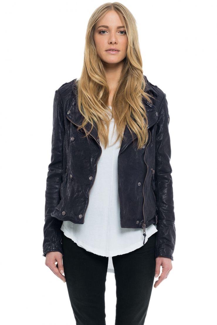 Aspen / Biker jacket with double button strip