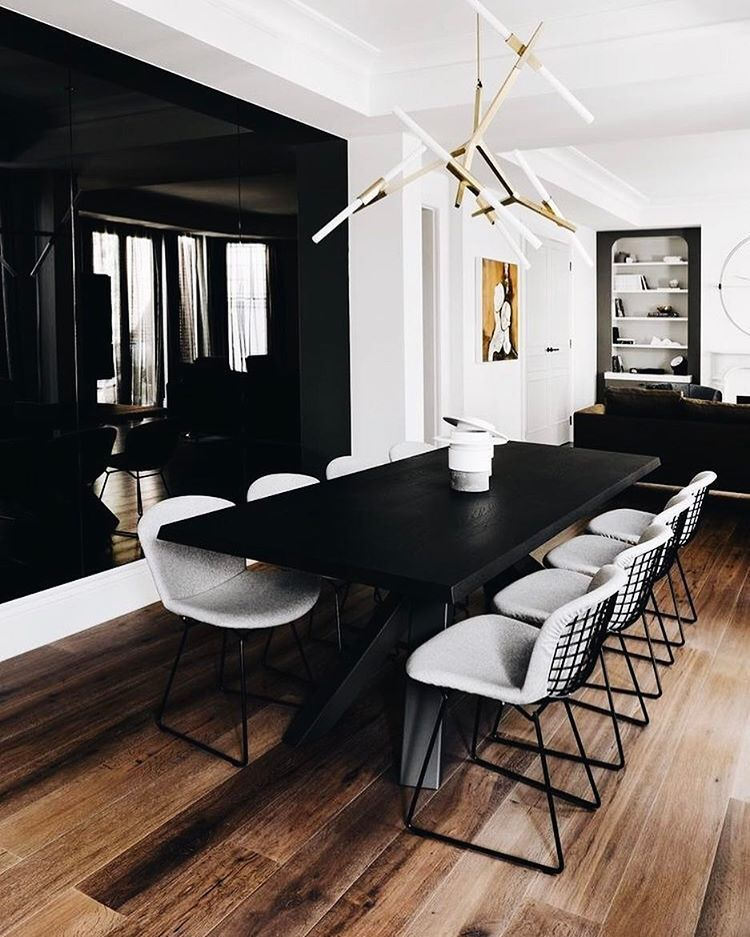 Bertoia Chairs And Black Table Big Dining Table Dining Room