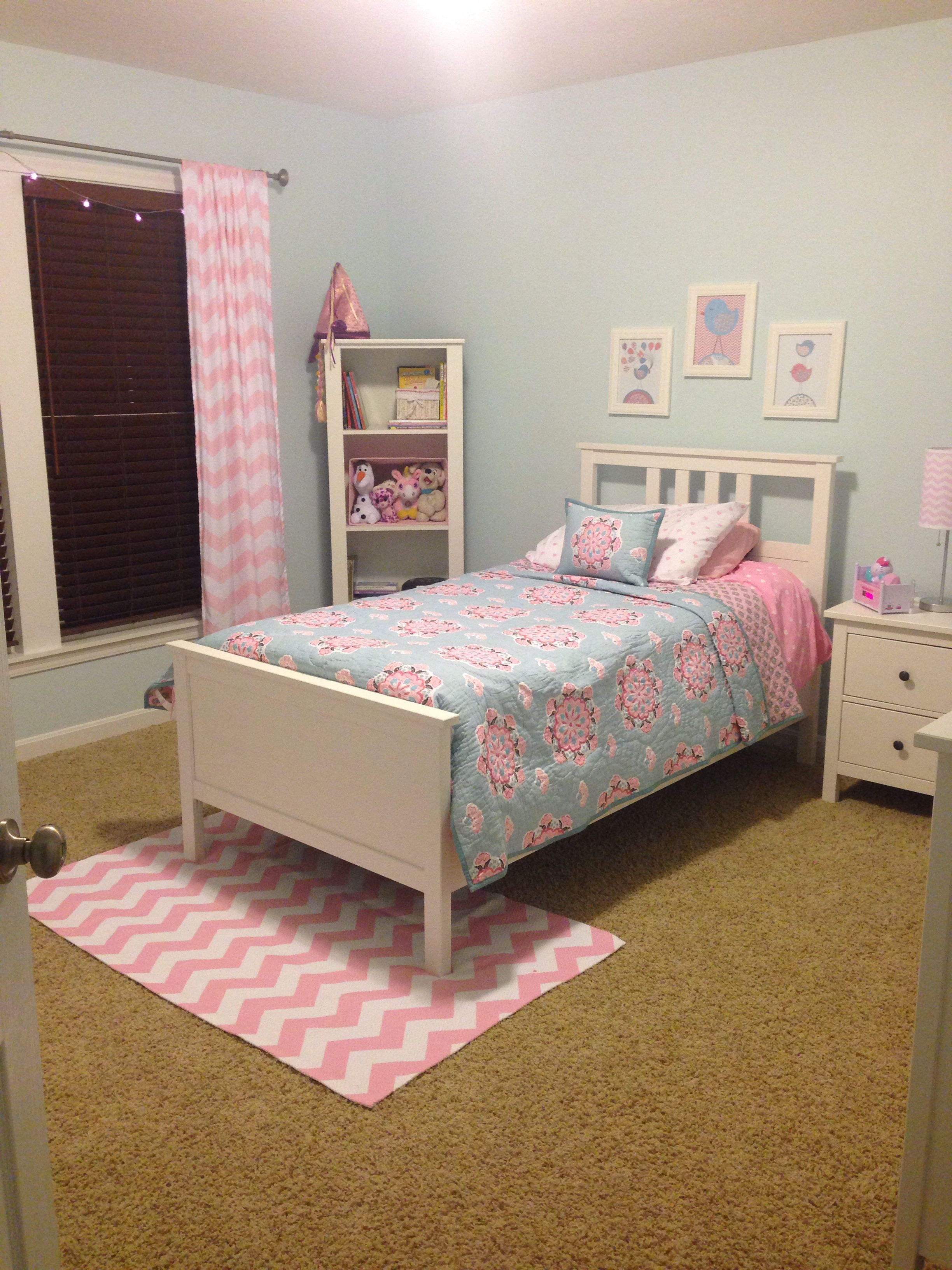Pottery Barn Bedroom Curtains Maddys Completed Light Blue Pink Big Girl Room Pottery Barn