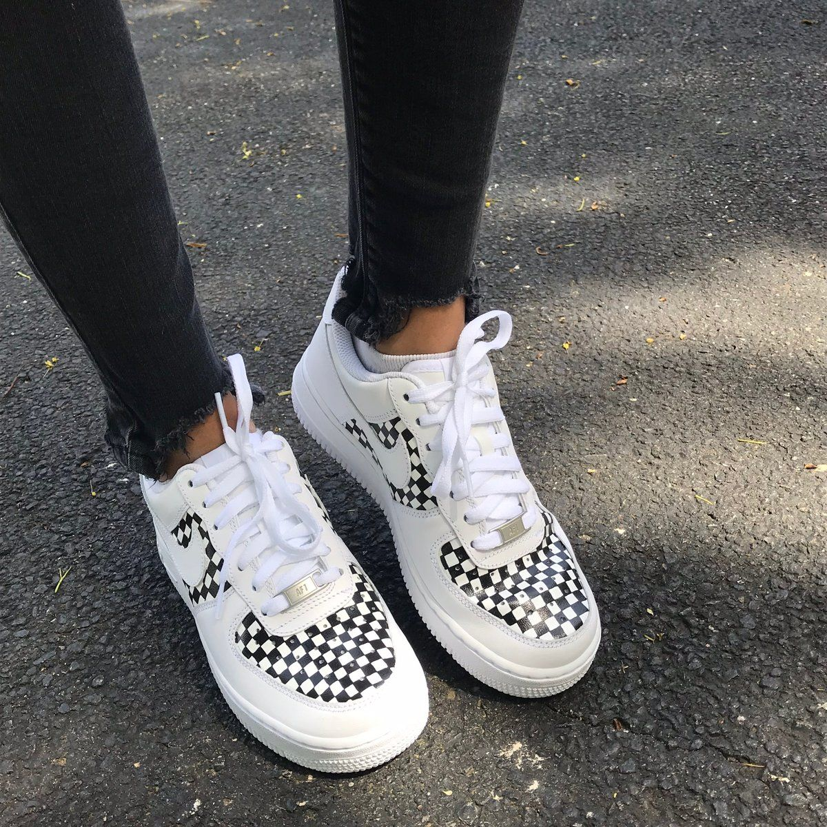 release date: 34327 e41ca Sneakers by Nike. Designs painted by DJ ZO Designs. Hand-painted black and  white checker pattern on middle and toe of Nike Air Force 1s.