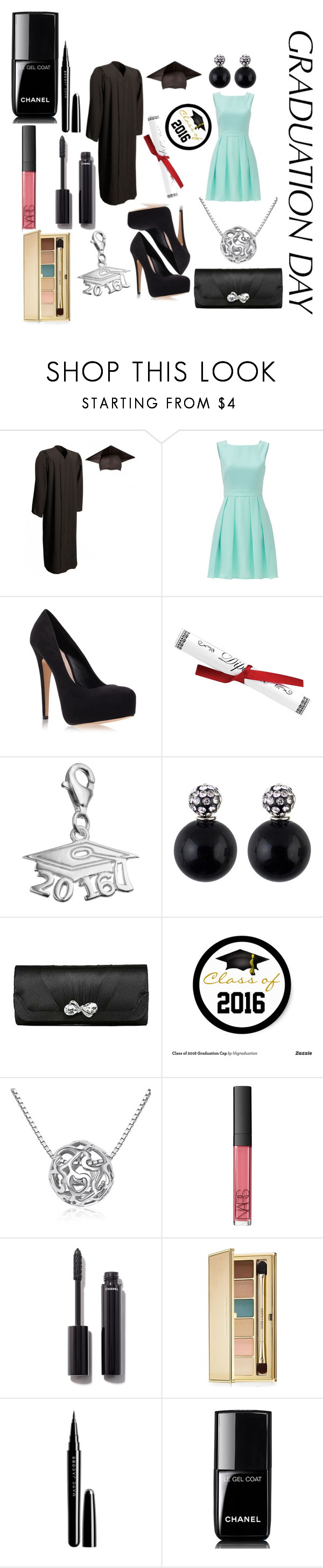"""Graduation"" by talibug ❤ liked on Polyvore featuring Kate Spade, Carvela Kurt Geiger, Personal Charm, NARS Cosmetics, Chanel, Estée Lauder, Marc Jacobs and graduationdaydress"