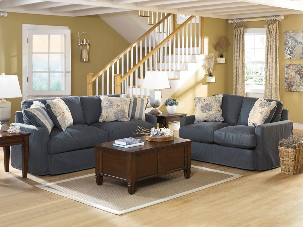 cottage style furniture living room with brown sofa | Ashley Addison Vintage Casual Cottage Slate Denim Blue ...