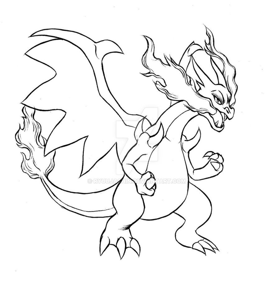 Mega Charizard X Brush Outline By Ryuujashin On Deviantart Pokemon Coloring Pages Coloring Pages Creation Coloring Pages
