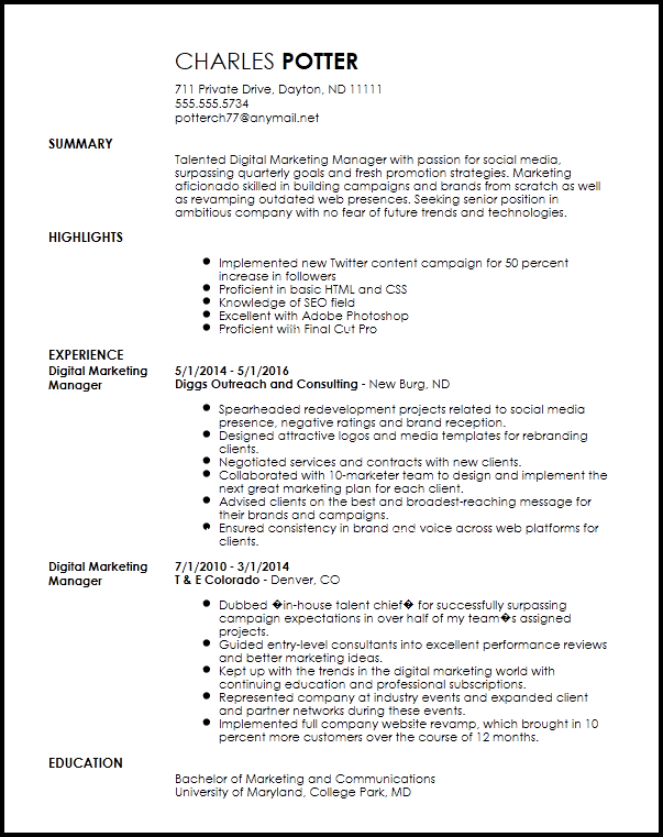 Nuik Noke Marketing Resumes Templates In 2020 Marketing Resume Digital Marketing Manager Resume Examples