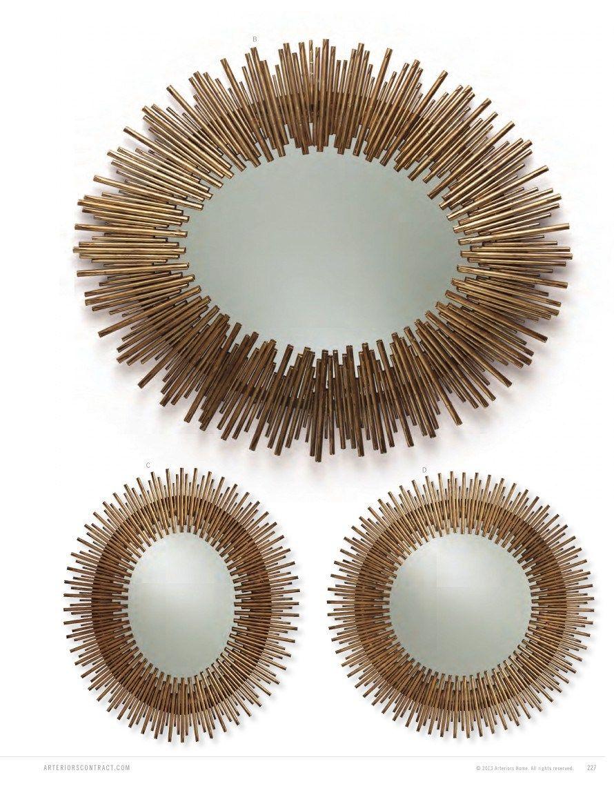d  prescott antiqued gold leaf round iron mirror  arteriors  - d  prescott antiqued gold leaf round iron mirror  arteriors