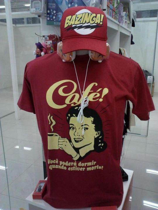 R$35,00 T-shirt - Café, Você poderá dormir quando morrer! (trinta e cinco reais)