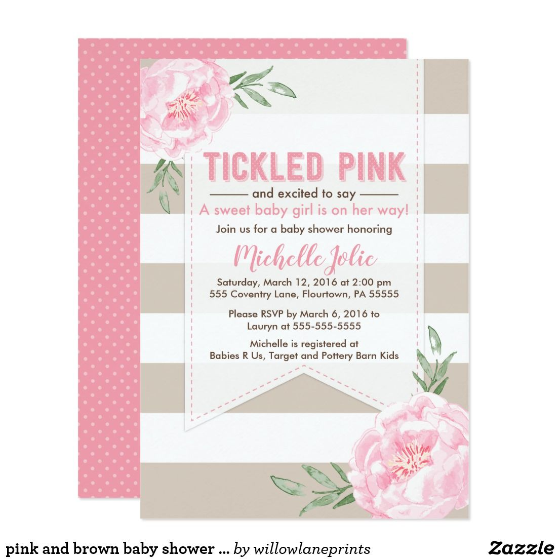 Pink And Brown Baby Shower Invitation Girl Card Shower Invitations