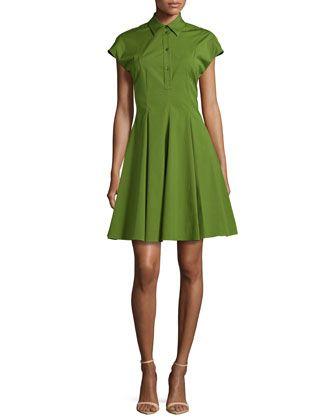 Stretch-Cotton Shirtdress, Grass  by Michael Kors at Neiman Marcus.