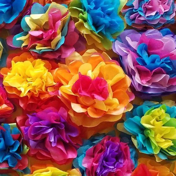 90 Mini Fiesta Tissue Paper Flowers Mini Mexican Christmas