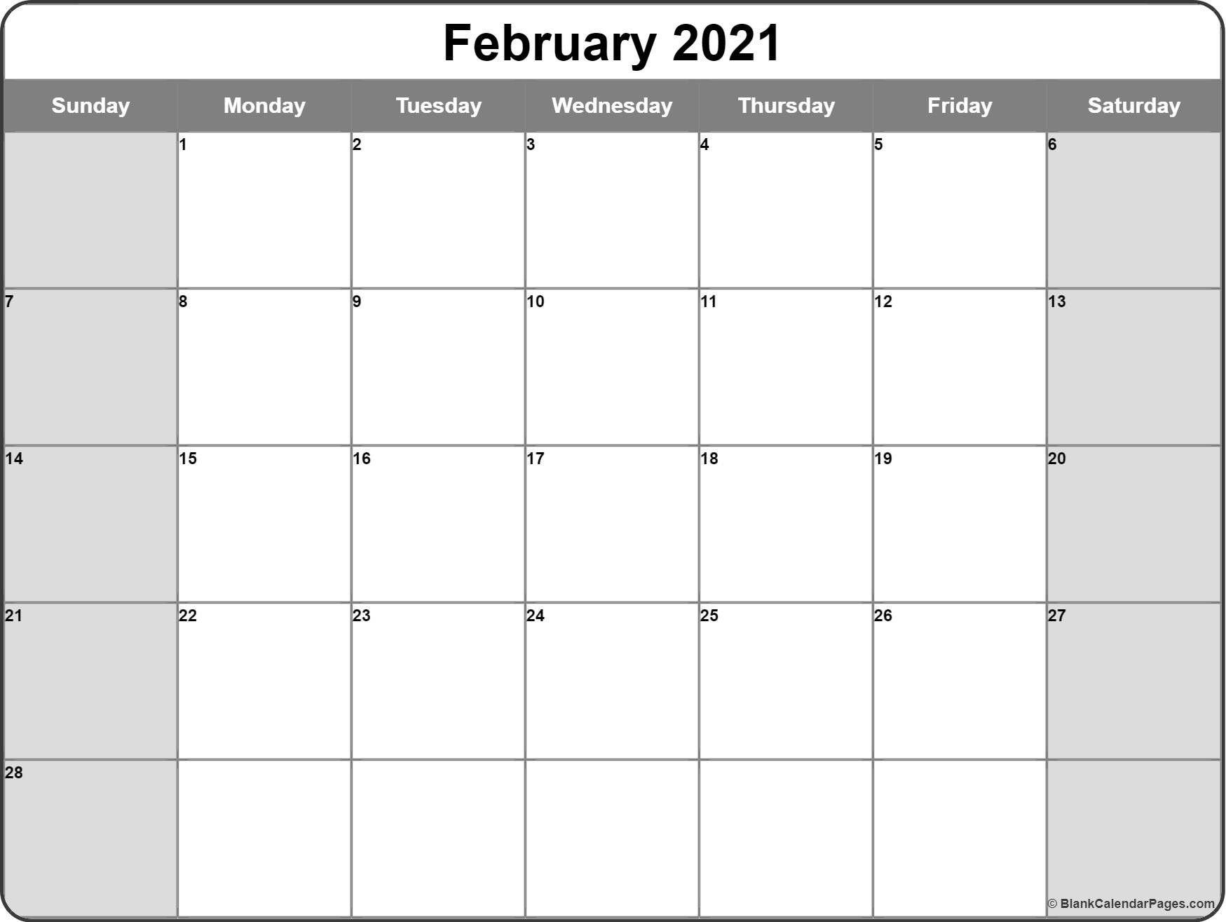 Blank February 2021 Calendar Page In 2020 Calendar Printables Free Printable Calendar Monthly Monthly Calendar Printable