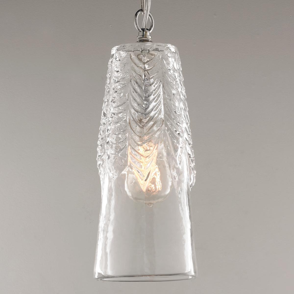 Rippled Glass Cylinder Pendant