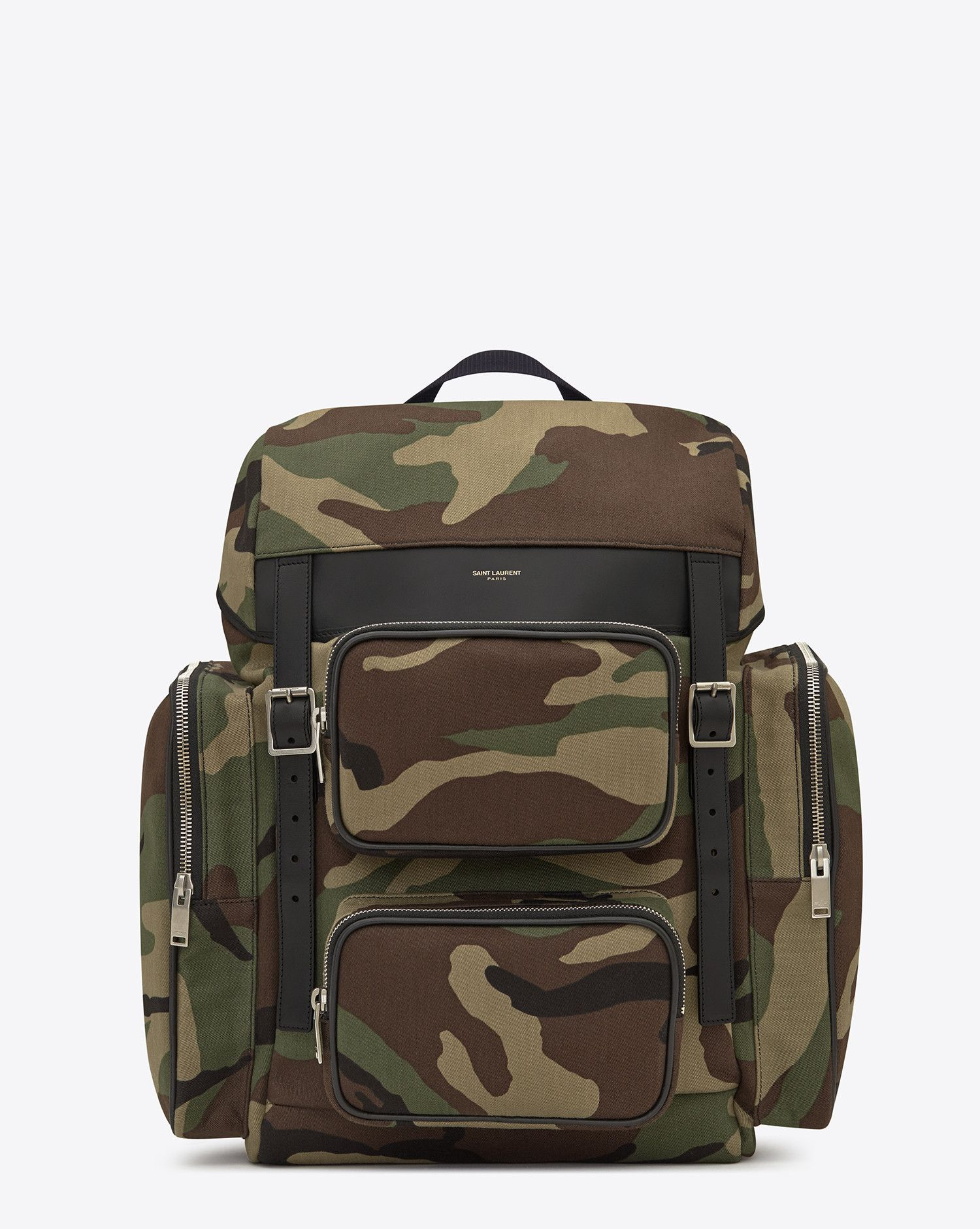 c793130808d Saint Laurent HUNTING Multi Pocket Rucksack In Camouflage Cotton Gabardine  And Black Leather