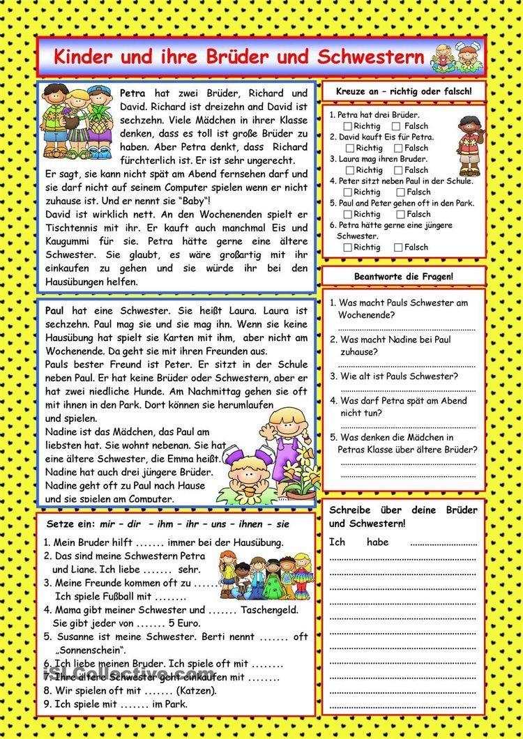 Kinder und ihr Lieblingsessen (+Lösung) | Sprachen | Pinterest ...