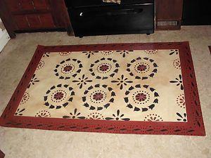 Primitive Floorcloth Floor Cloth Area Rug Folkart 36x56