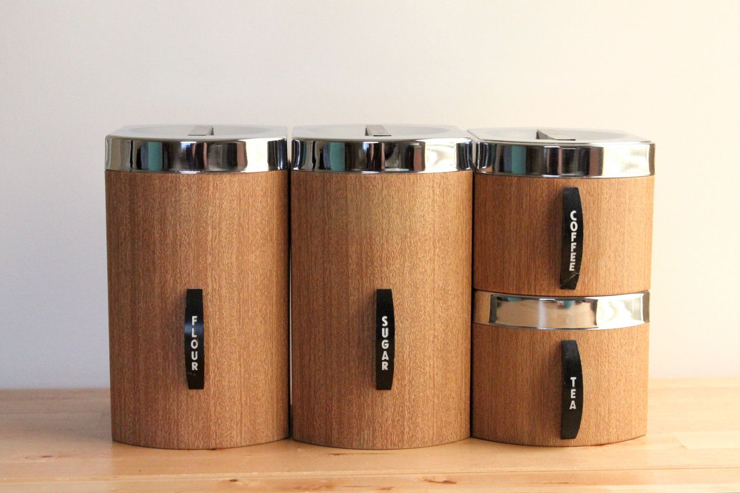 kromex faux bois canisters with flour sugar coffee and tea