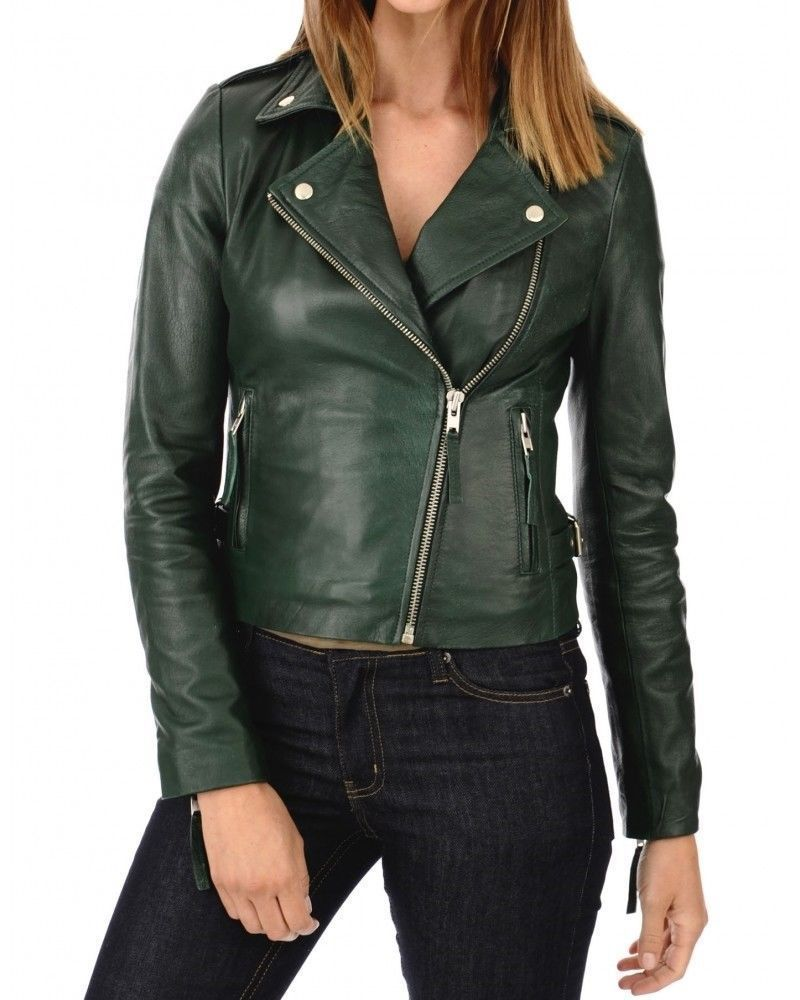 69afe630595c A Fabulous Womens Green Leather jacket Biker Style Classsic Design W13  #Handmade #Motorcycle
