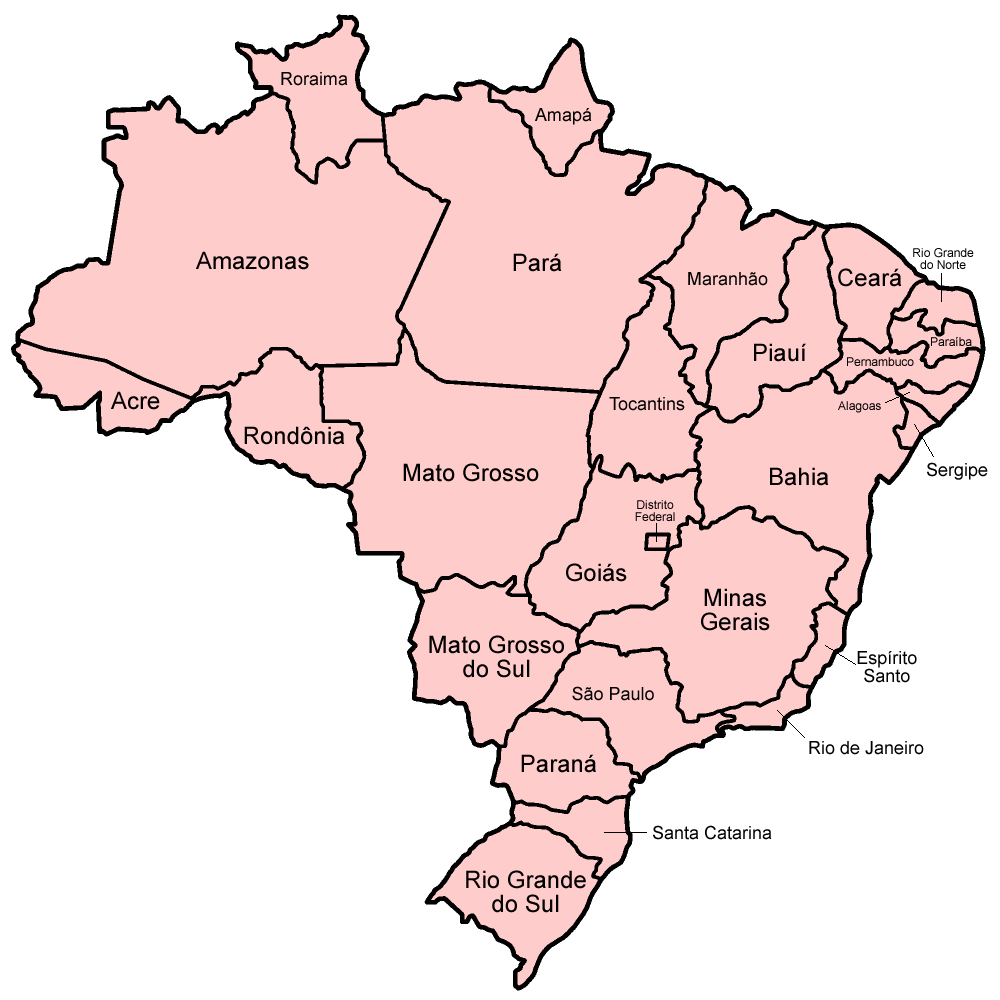Map Of The States Of Brazil In Portuguese Mapas Pinterest - Brazil states map
