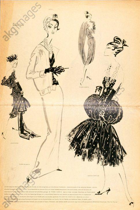"""Ladies' fashion, Paris Drawing by Walter Voigt Damenmode, Frankreich, um 1960.  """"Paris bei Tag und Nacht"""" (Mode von Pariser Modeschöpfern). Druck nach Zeichnungen von Walter Voigt (1908–1984). Aus: Zeitschrift """"Die Mode"""". Privatsammlung.  #fashionillustraition #fashion"""