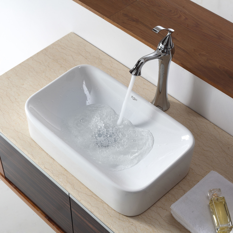 Kraus Soft Rectangular Vessel Bathroom Sink In With Pop Up Drain