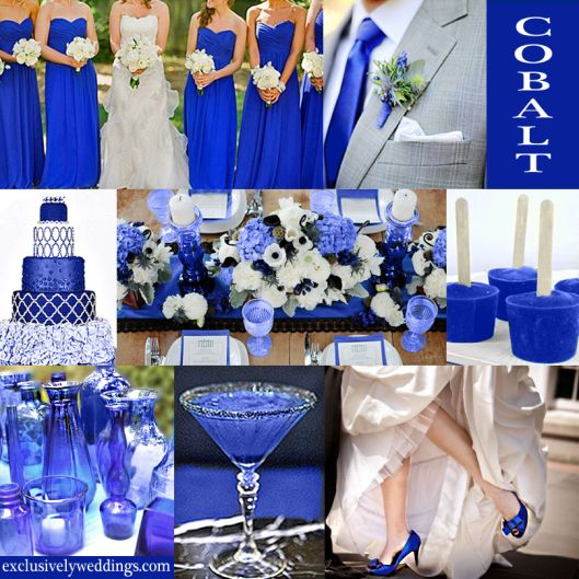 """Cobalt is a very saturated, vibrant shade of blue that steps it up a notch from the more expected Royal and other mid-tone blues. (It is sometimes called """"Sapphire"""" by companies that sell bridesmaids dresses.) It is a color that can stand alone with just a mix of cream or white and perhaps a pop of black. Because it is so vibrant it can hold up well in a sunny, outdoor venue as shown in the photo of the bridesmaids below."""