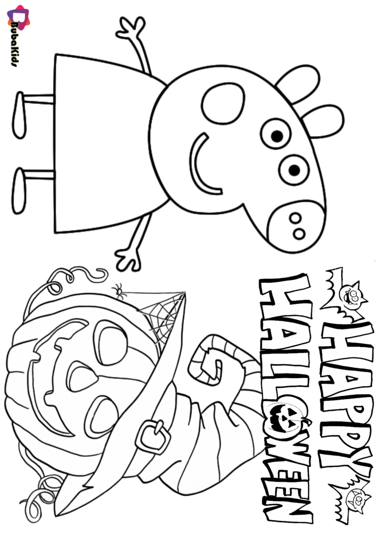 Peppa Pig Happy Halloween Coloring Page Halloween Coloring Pages Cartoon Coloring Pages Halloween Coloring