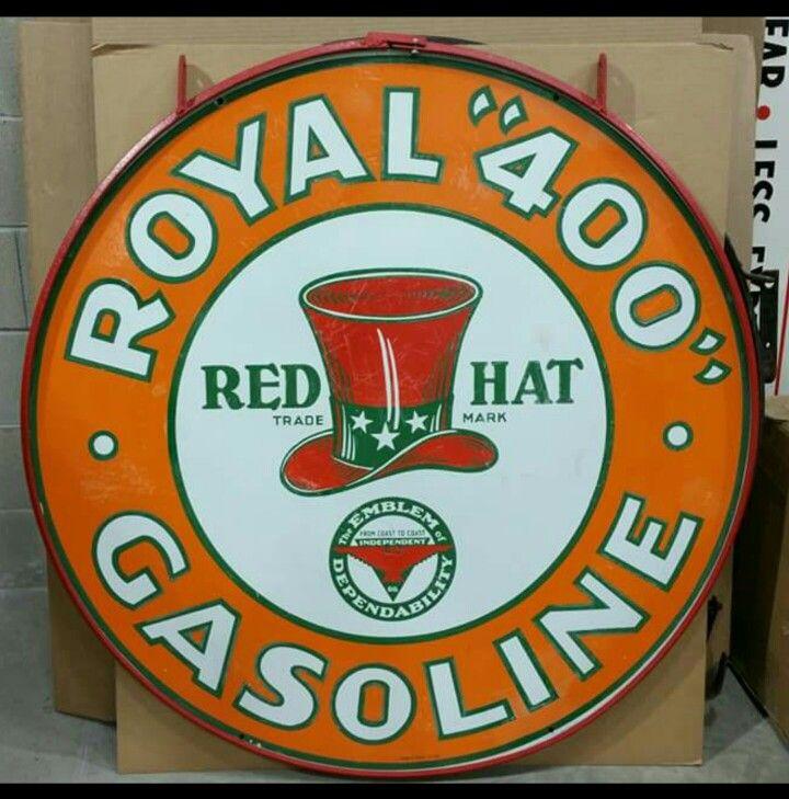 Rare Red Hat Royal 400 Gasoline Porcelain Sign