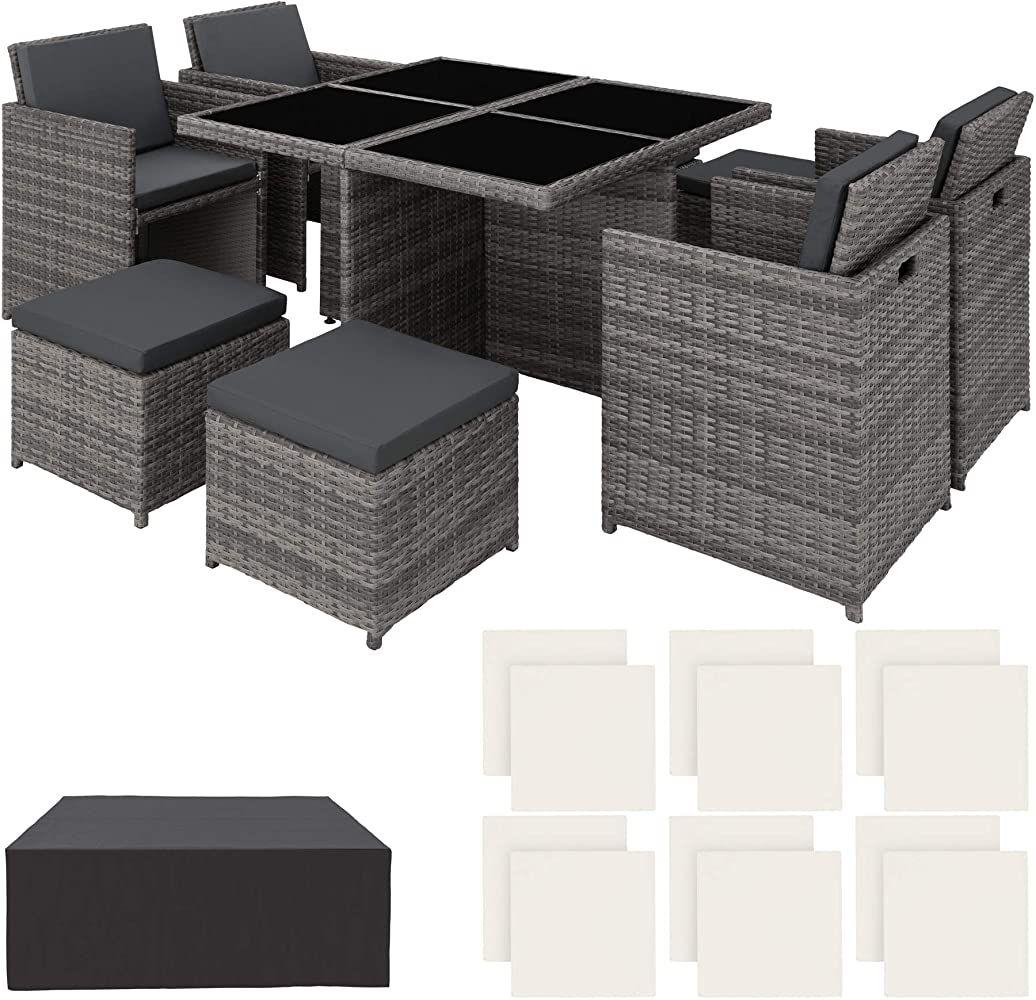 Tectake 403082 Poly Rattan Aluminium 414 Sitzgruppe Cube 4 Stuhle
