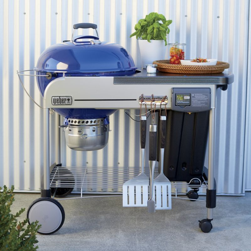 Weber Blue Performer Deluxe Charcoal Grill Crate And Barrel Charcoal Grill Grill Accessories Grilling