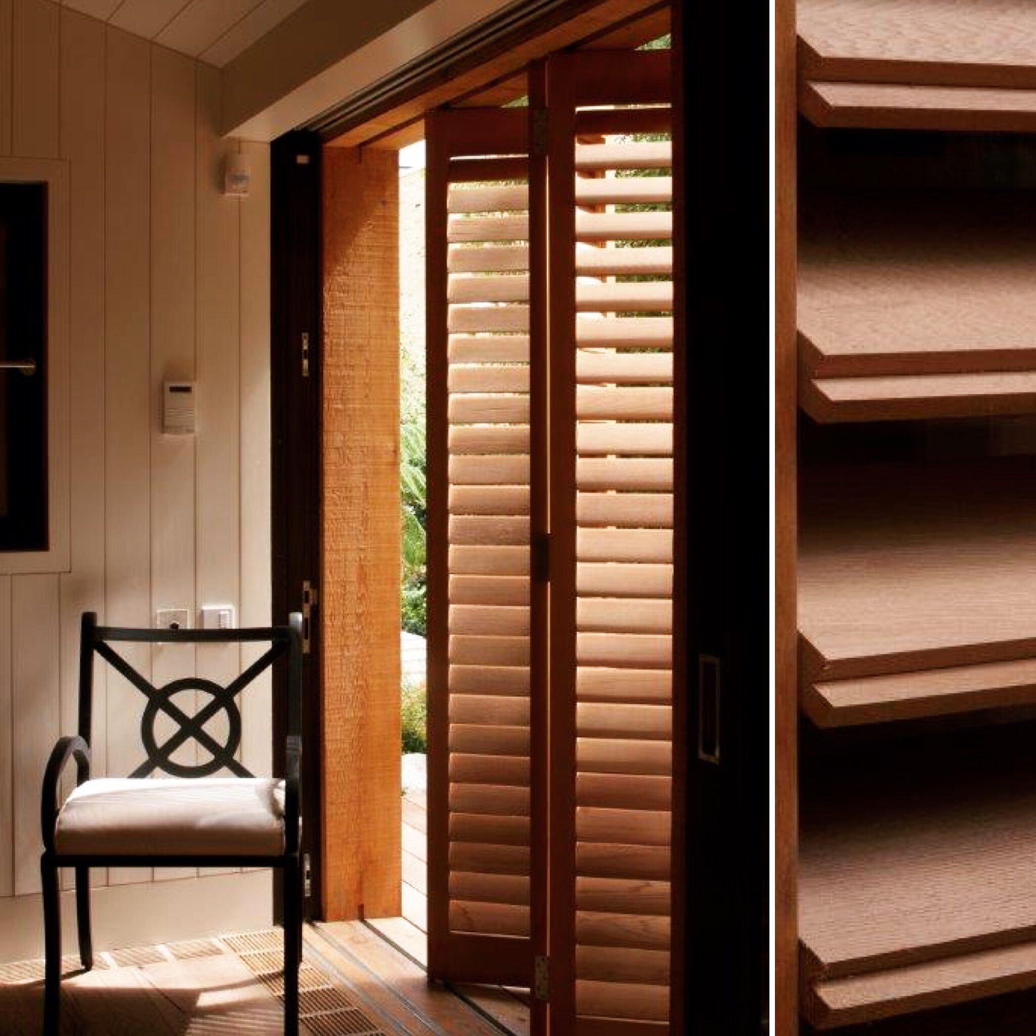Beautiful and Natural solid cedar wood shutters from The