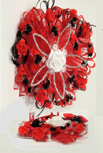 Round Red Roses Quinceanera Flowers Bouquet Silk flower