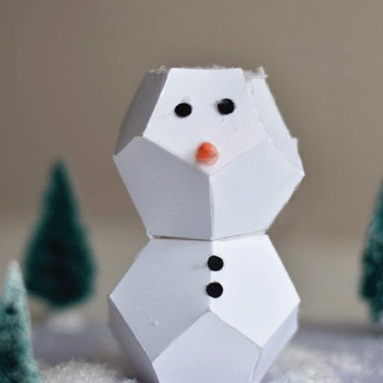 Origami Snowman with printable template that you cut + fold This - snowman template