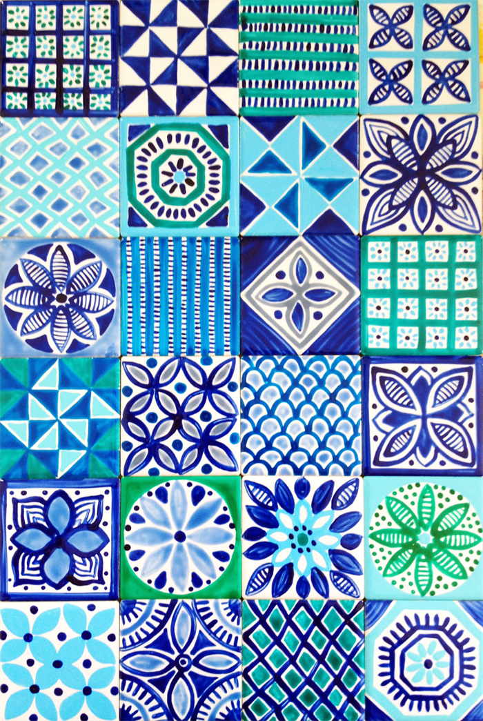 Moroccan inspired hand painted ceramic tiles for Moroccan ceramic floor tile