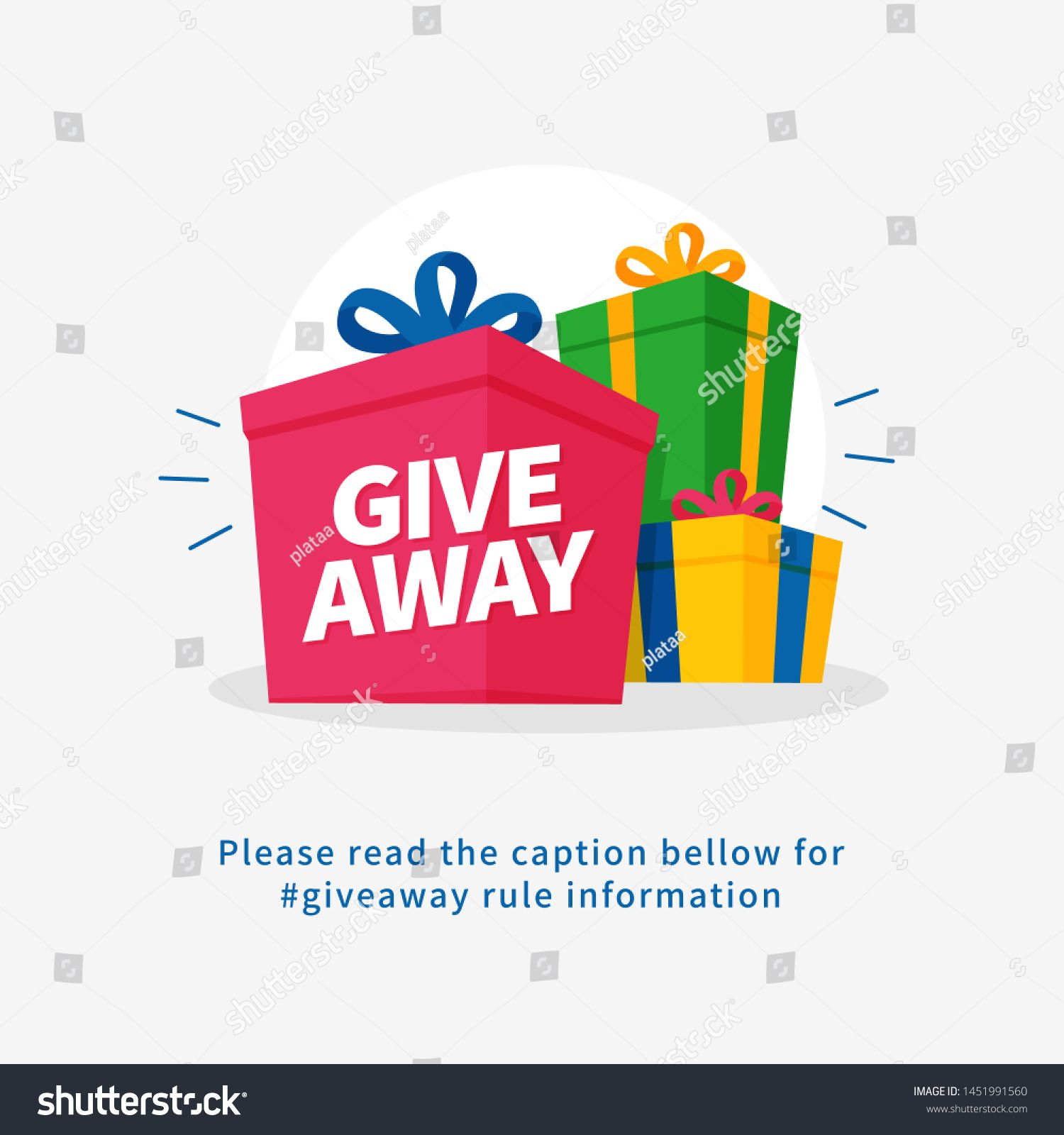 Giveaway Poster For Social Media Post Graphic Template Many Gift Box Vector Illustration For Share Happines Event Poster Design Social Media Post Social Media