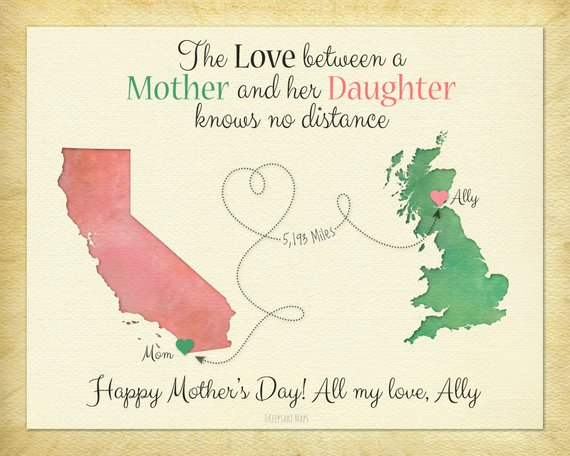 Long Distance Mother and Son Map Gift, Love Between a