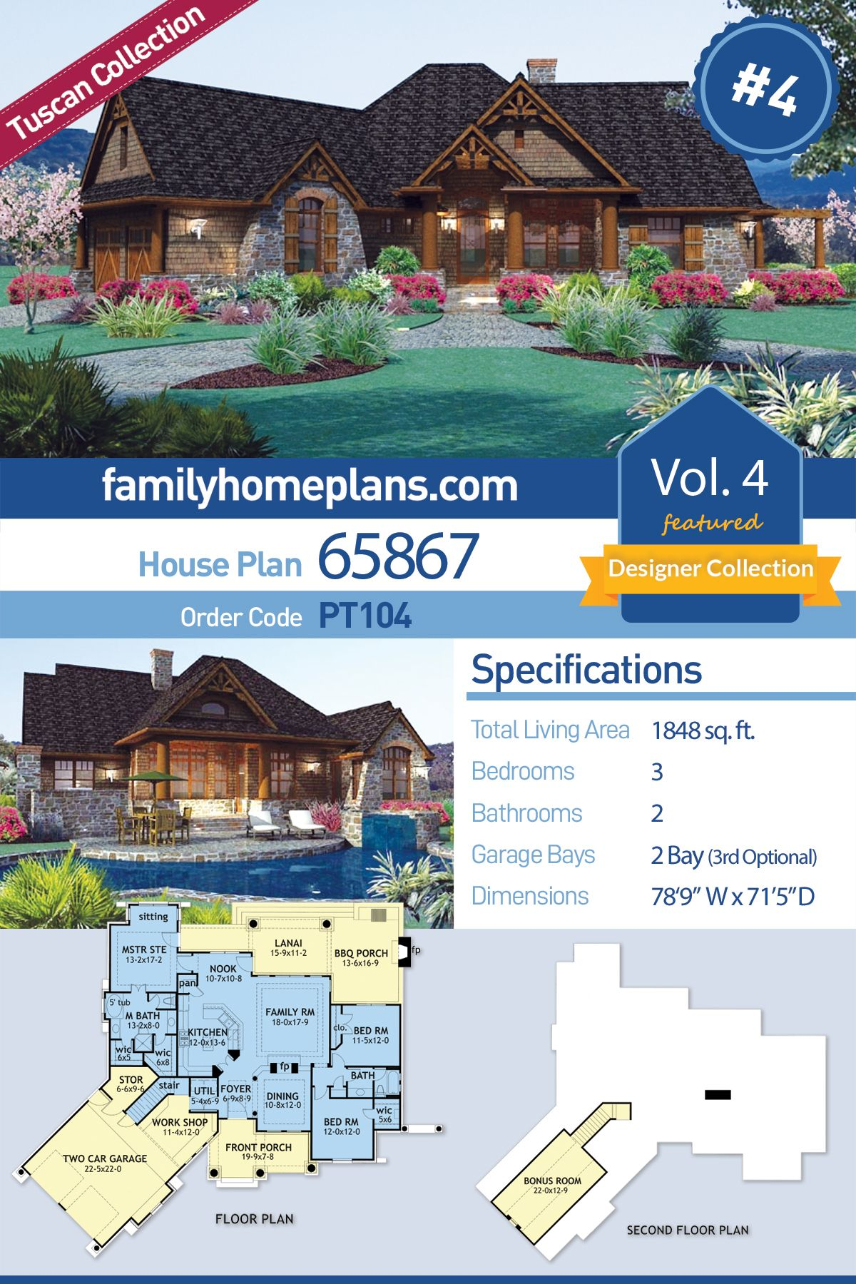 Tuscan Style House Plan 65867 With 3 Bed 2 Bath 2 Car Garage Tuscan House Plans Craftsman House Plans House Plans