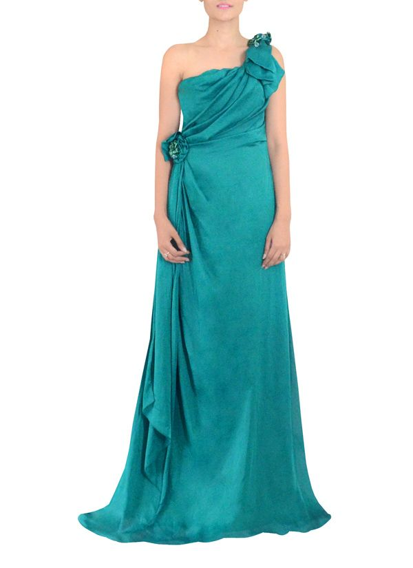 aaf22abb47 Indian Fashion Designers - Michelle Salins - Contemporary Indian Designer  Clothes - Gowns - MS-AW14-06225 - Sea Green One Shouldered Gown