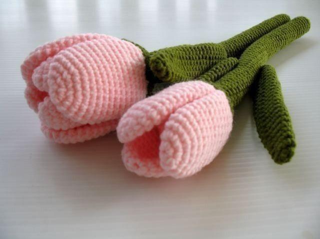 Crochet Pattern - TULIP FLOWER - Toys - PDF | Flores tejidas, Flores ...