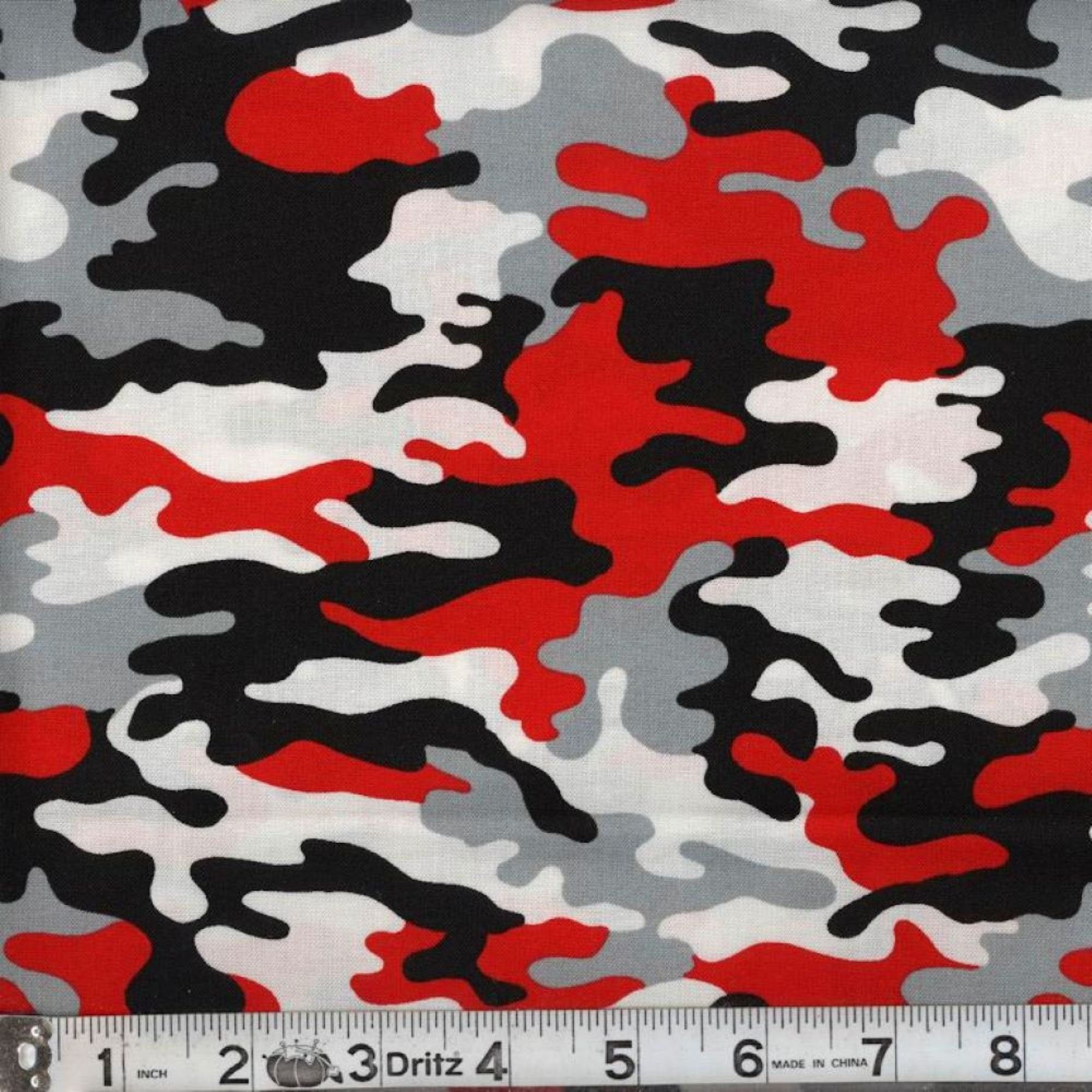 Real Red Camo Fabric 100 Cotton Fabric Fabric By The Yard Etsy In 2021 Black And Red Camouflage Map Fabric
