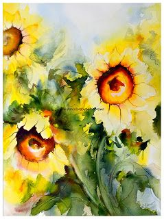 Giclee Prints Watercolor Sunflower Sunflower Art
