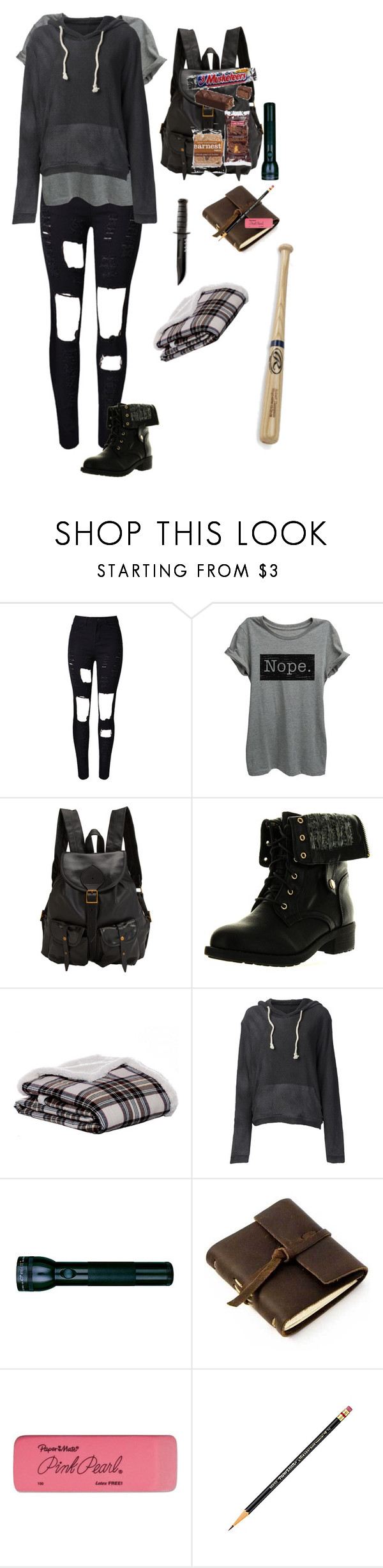 """""""apocalypse zumbie"""" by vivi-br ❤ liked on Polyvore featuring WithChic, Jas M.B., Refresh, Eddie Bauer, The Elder Statesman, Maglite, Rustico and Paper Mate"""