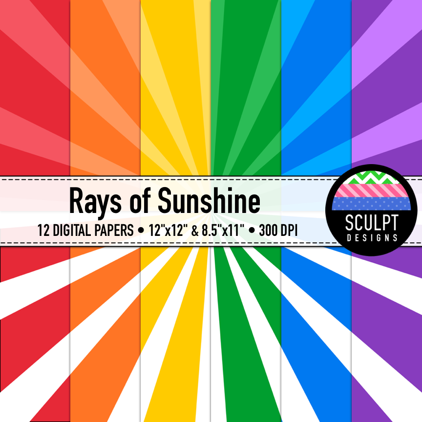 Brighten up your project covers with these colorful Rays of Sunshine!  These digital papers come in 6 bold background colors - red, blue, green, orange, purple and yellow, 2 design variations and 2 sizes... 48 files in total.