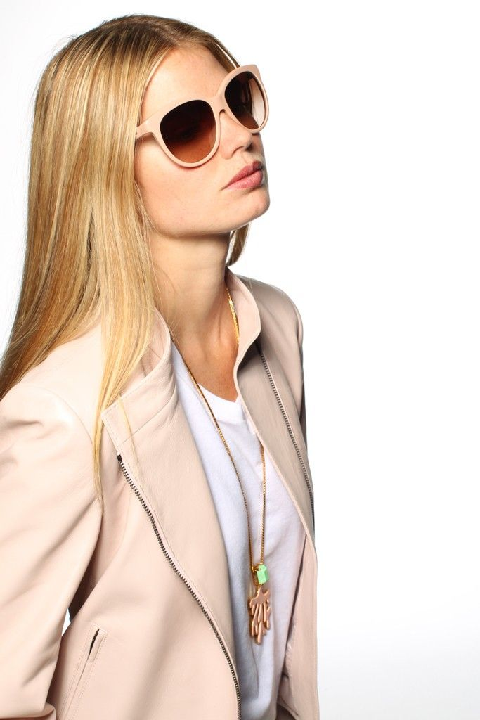 Resort 2013 Trend: Mad About Hue  (DKNY's leather jacket; American Apparel's cotton T-shirt. House of Lavande necklace.)