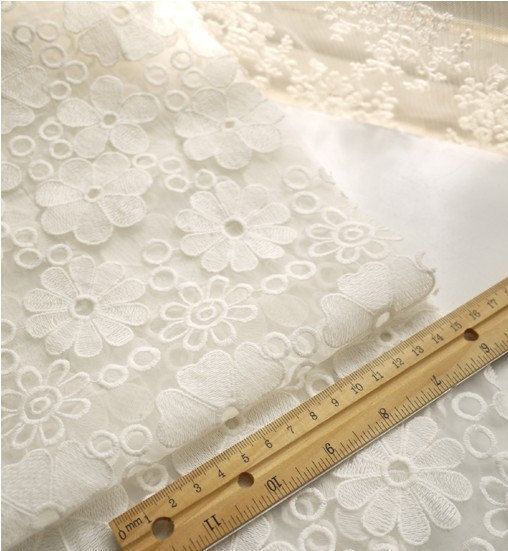 off white Lace Fabric, organza lace fabric, Embroidered Lace, Bridal Lace Fabric