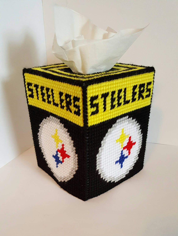 Tissue Box Cover   Plastic Canvas   Steelers   Handmade   Square Kleenex  Cover   Bathroom