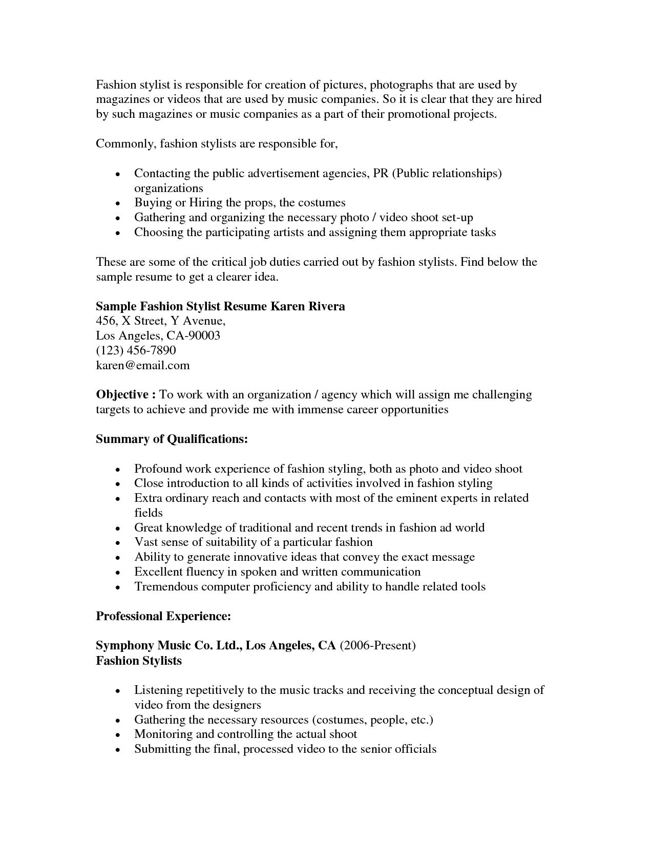 fashion stylist resume objective resumecareer info - Fashion Stylist Resume
