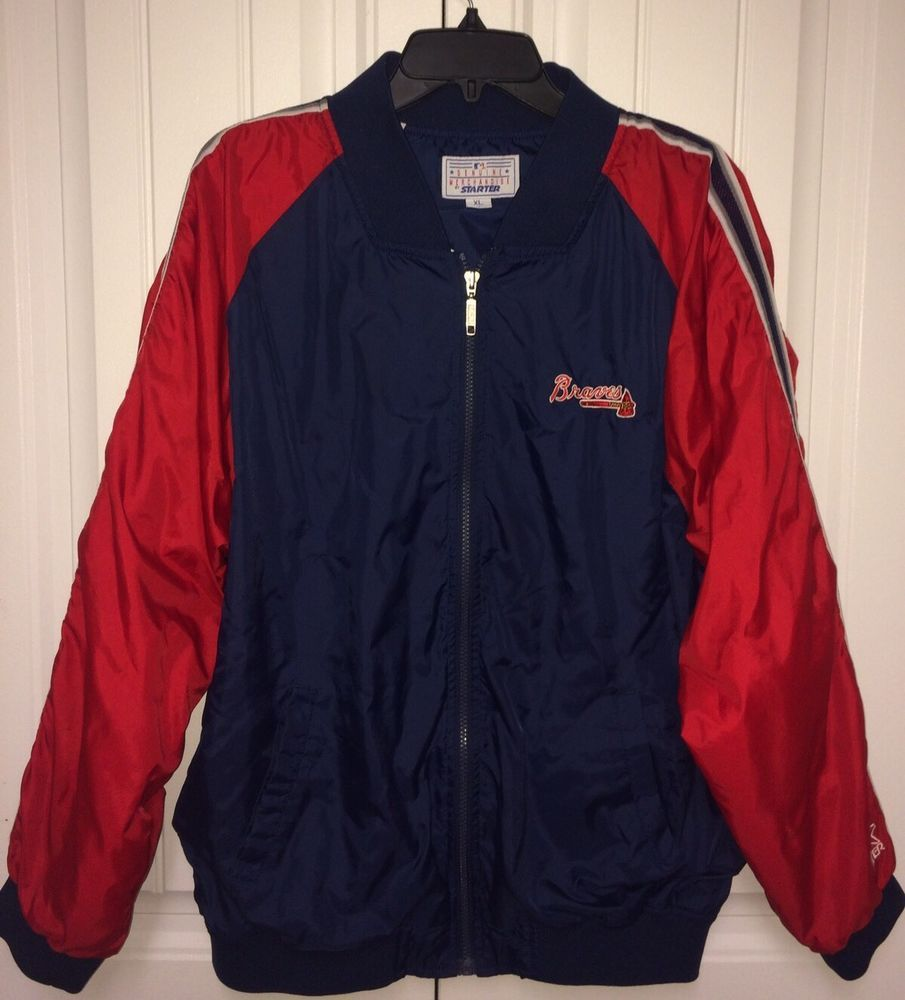 Mens Vintage Starter Atlanta Braves Windbreaker Zip Up Jacket Size Xl Starter Atlantabraves Jackets Vintage Men Atlanta Braves