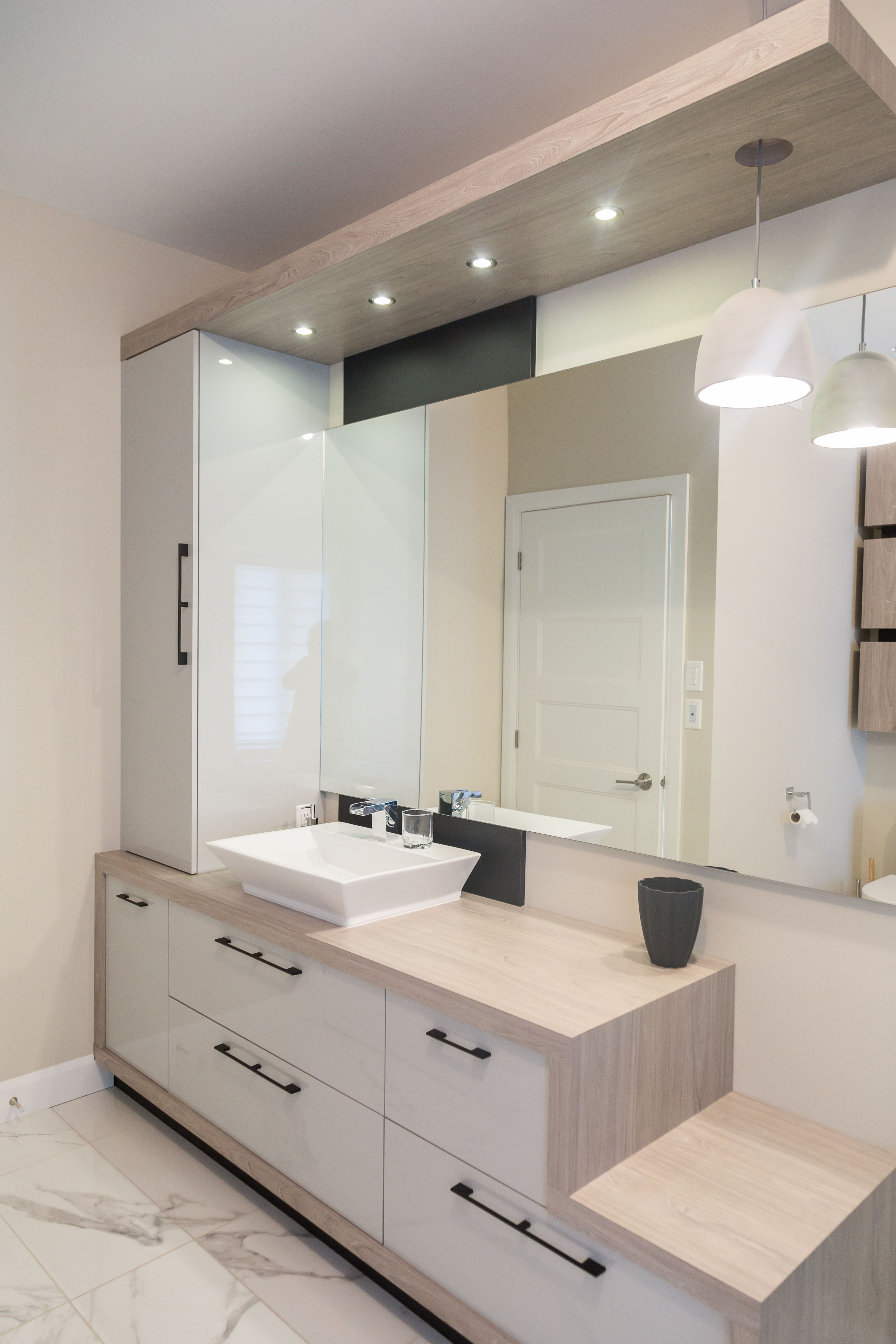 Genial Additional Vanity Storage Configuration. Neat Suspended Lighting Slab.  Bathroom Wall Cabinets, Basement Bathroom