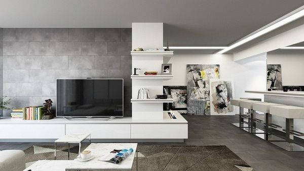 Living Room Wall Design Examples Wall Tile Concrete Look Behind Tv
