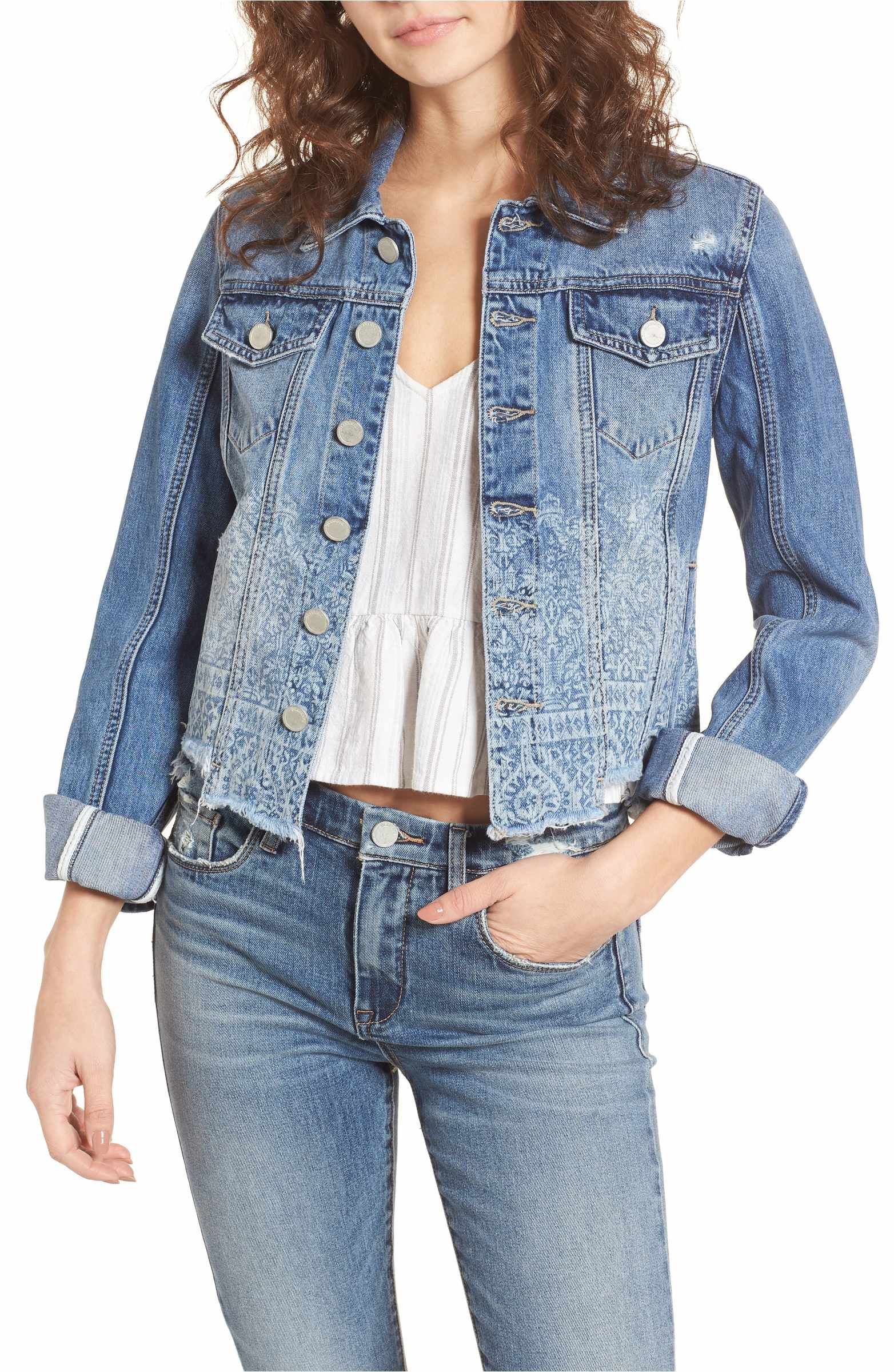 c300a497162 Main Image - BLANKNYC Bleach Print Denim Jacket (Sweet Relief Blue ...